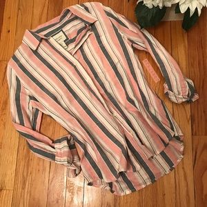 FOREVER 21: Preppy Cotton Striped Button Down Top!